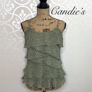 CANDIE'S LARGE OLIVE COLORED LAYERED TANK